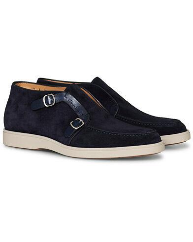 Santoni Detroit Double Monk Shoe Navy Suede