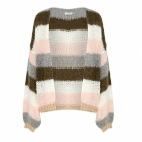 Noella Kala Knit Cardigan Wool - Olivegreen/Rose Stripes