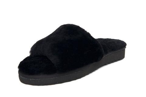 Cedrico Furry Slipper - Black