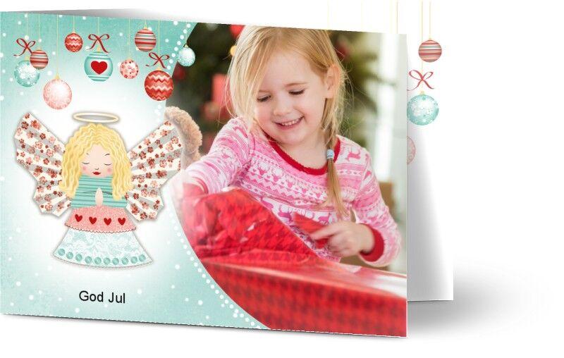 Optimalprint Julekort, fotokort (1 foto), engel, bauble, blå, barn, A6, brettet, Optimalprint