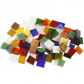 Diverse Glassmosaikk, str. 10x10 mm, tykkelse 3 mm, 454 g
