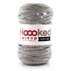 Hoooked Ribbon XL Stoffgarn Unicolor Lurex 1 Silver Glitter