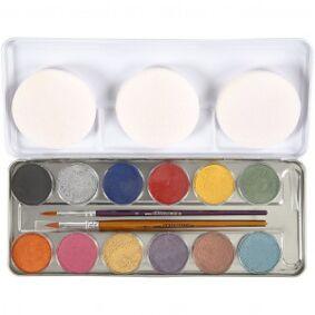 Eulenspiegel Ansiktsmaling, 12 farger, perlemorsfarger