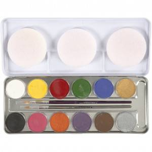 Eulenspiegel Ansiktsmaling - Sminkepalett, 12 farger, ass. Farger