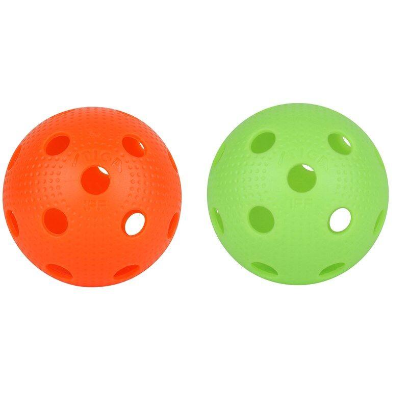 Stiga Floorball EXS Dimpels Balls, 2-pack, Green/Orange 3 - 18 years