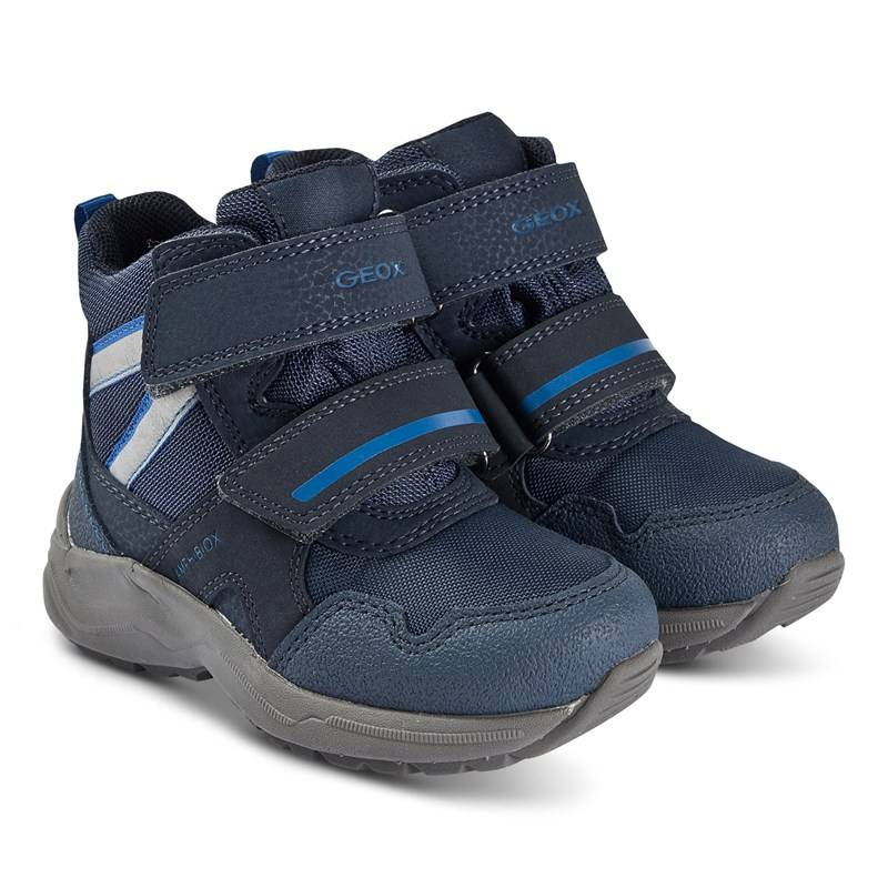 Geox Navy Kuray Amphibiox Waterproof Double Velcro Fleece Lined Boots 31 (UK 12.5)
