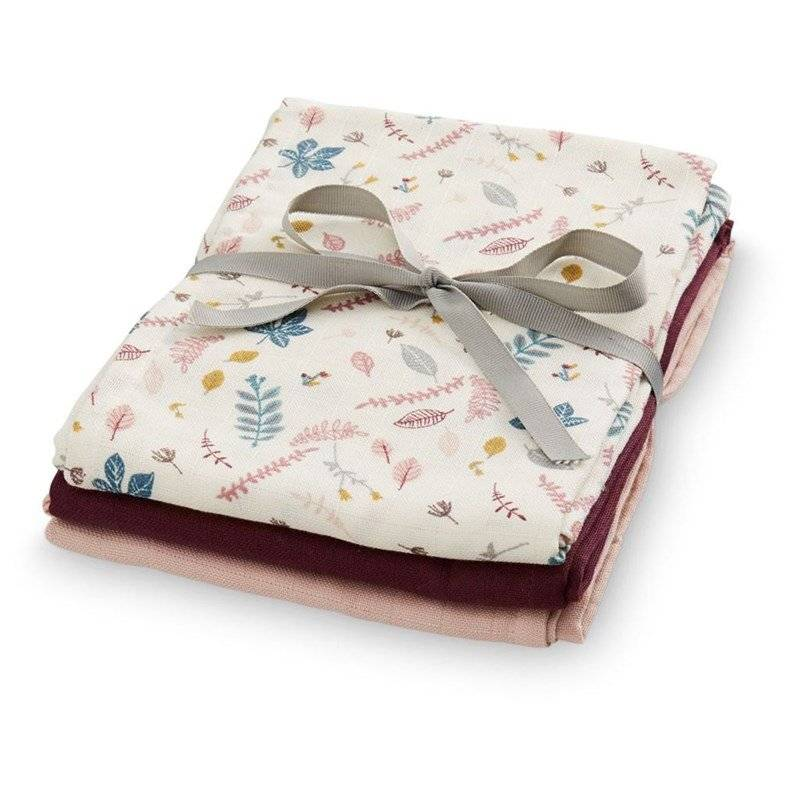Cam Cam Muslin Cloth 3 Pack Mix Pressed Leaves Bordeaux One Size