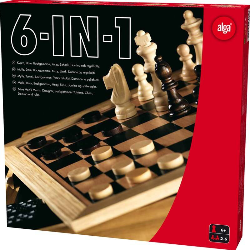 Alga 6-in-1, schack, dam, backgammon, domino, kvarn og yatzy 5+ years