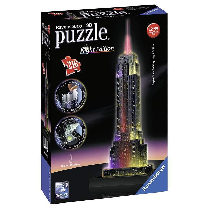 Ravensburger 3D Puslespill Empire State Building Night Edition 216 biter 12 - 18 years