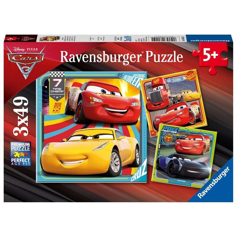 Ravensburger Puslespill, Disney Cars 3, 3x49 brikker 5 - 8 years