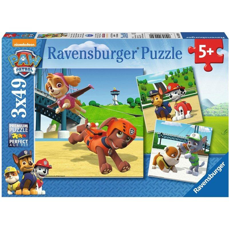 Ravensburger Puslespill, Paw Patrol 3 x 49 brikker 5 - 10 år