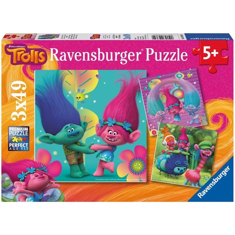 Ravensburger Puslespill, Trolls, 3x49 brikker 5 - 7 år