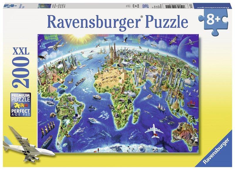 Ravensburger Puslespill World Landmarks Map 200 brikker 7 - 10 years