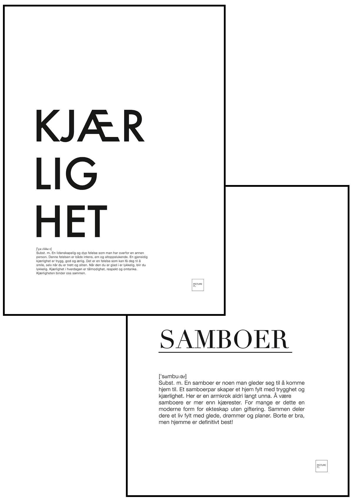 pictureit KJÆRLIGHET + SAMBOER 30x40 poster