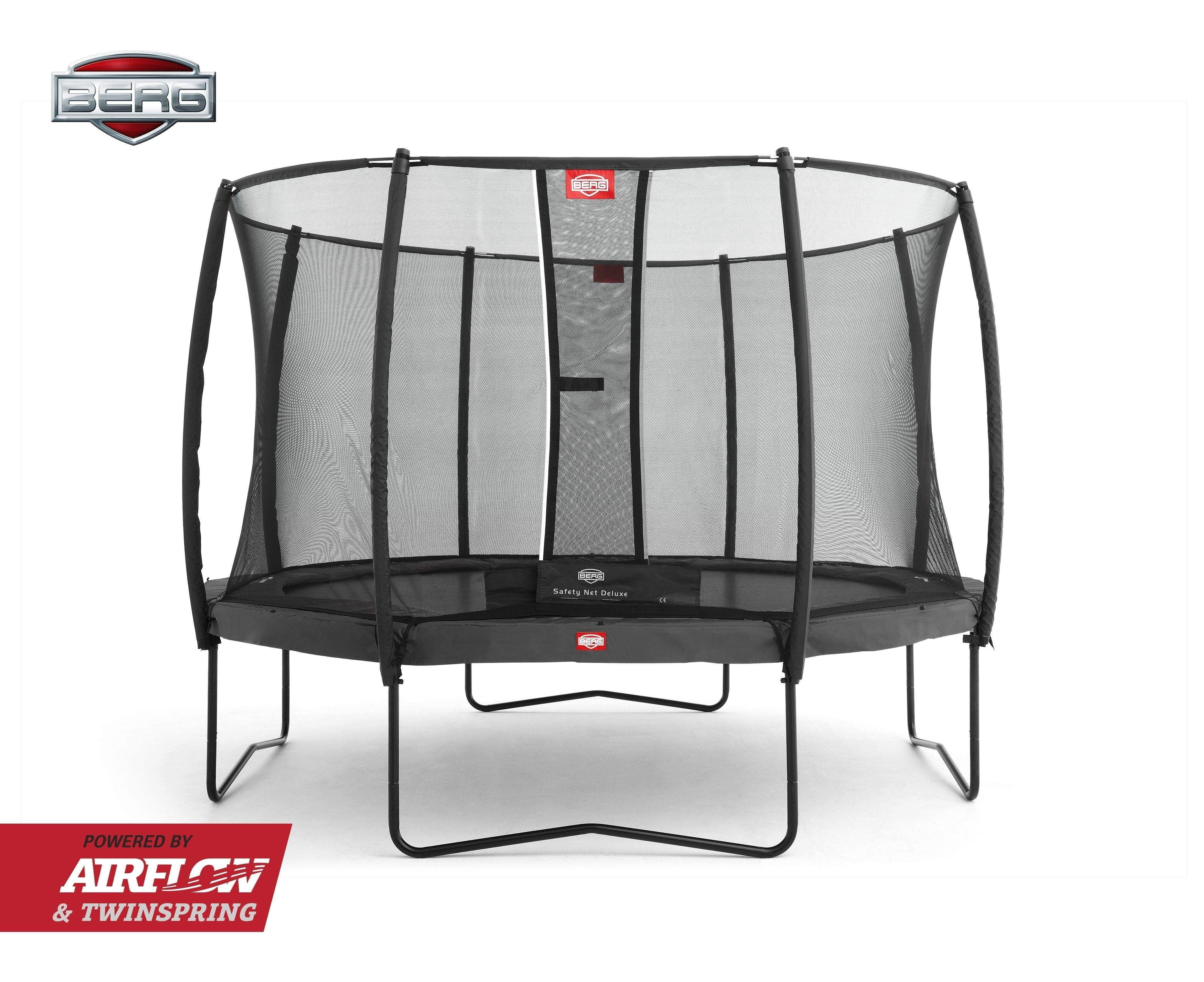 BERG Champion Airflow Trampoline 330cm Grå med Deluxe Sikkerhetsnett - Best i Test