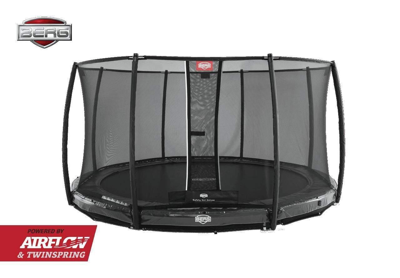 BERG Elite InGround Trampoline 380cm Grå med Deluxe sikkerhettsnett