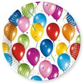 Happy Birthday Balloons Fiesta Papptallerkener 23cm - 10 stk