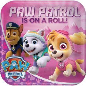 Paw Patrol Rosa Firkantet Tallerkener 8 stk - 23cm