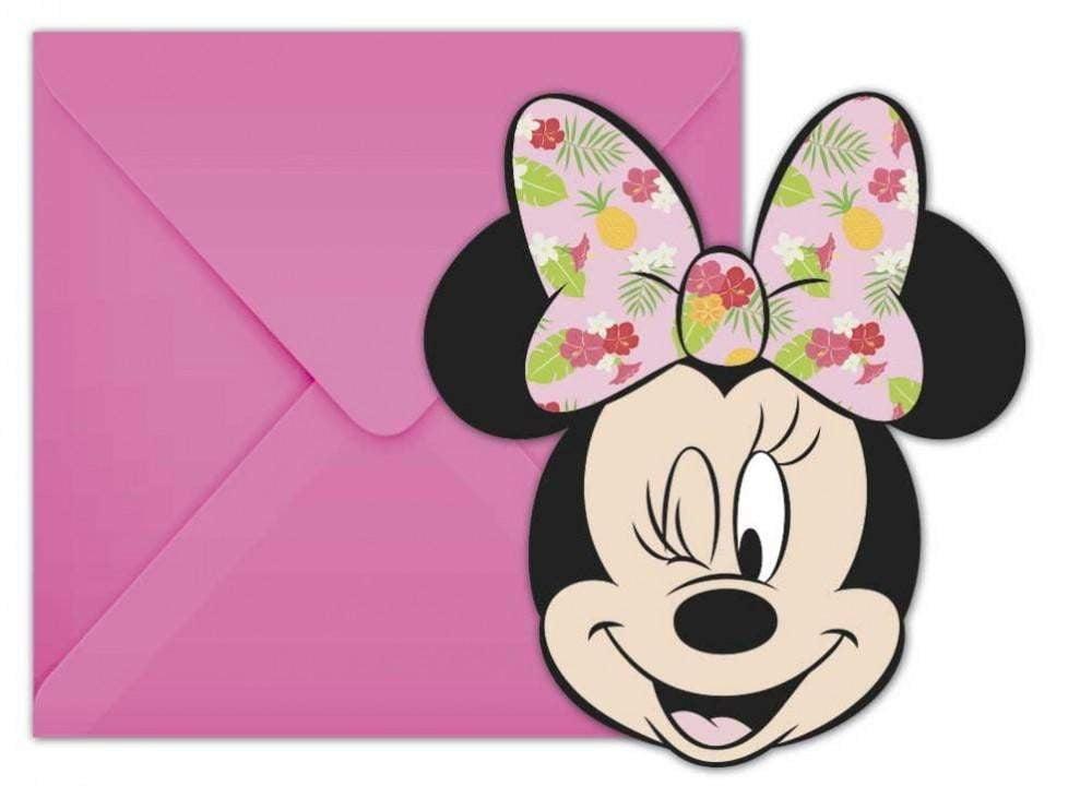 Minnie Mouse Minnie Mus Tropical Party Invitasjoner - 6 stk