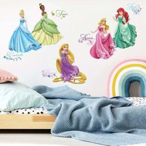"""RoomMates Disney Princess """"Royal Debut"""" Klistermerke med Glitter - 37 stk"""