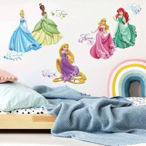 "RoomMates Disney Princess ""Royal Debut"" Klistermerke med Glitter - 37 stk"