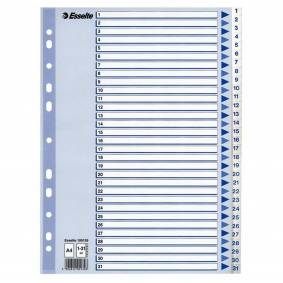 Register Esselte plast A4 1-31 blå/hvit