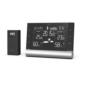 Værstasjon Black Line Plus sort: Basestasjon og trådløs sensor