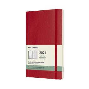 Almanakk Moleskine myk uke rød: 2021, 13x21cm