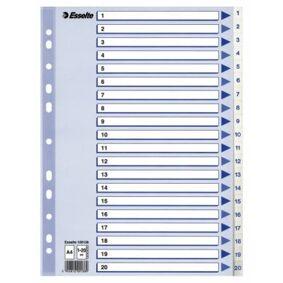 ESSELTE Register Esselte PP A4 1-20 Hvit 100138 Tilsvarer: N/A