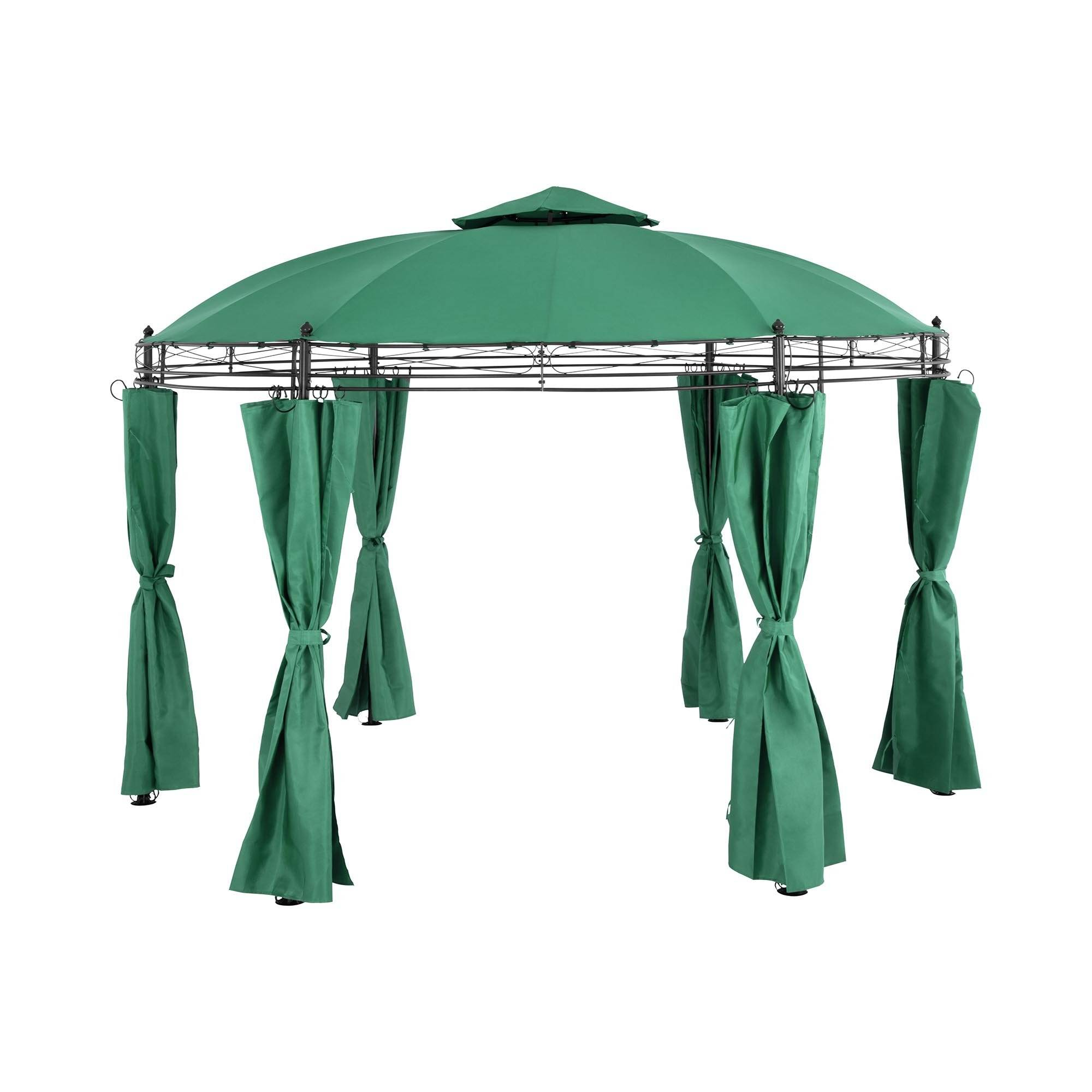 Uniprodo Rund gazebo - Ø 3.5 m - 180 g/m² - mørkegrønn 10250051