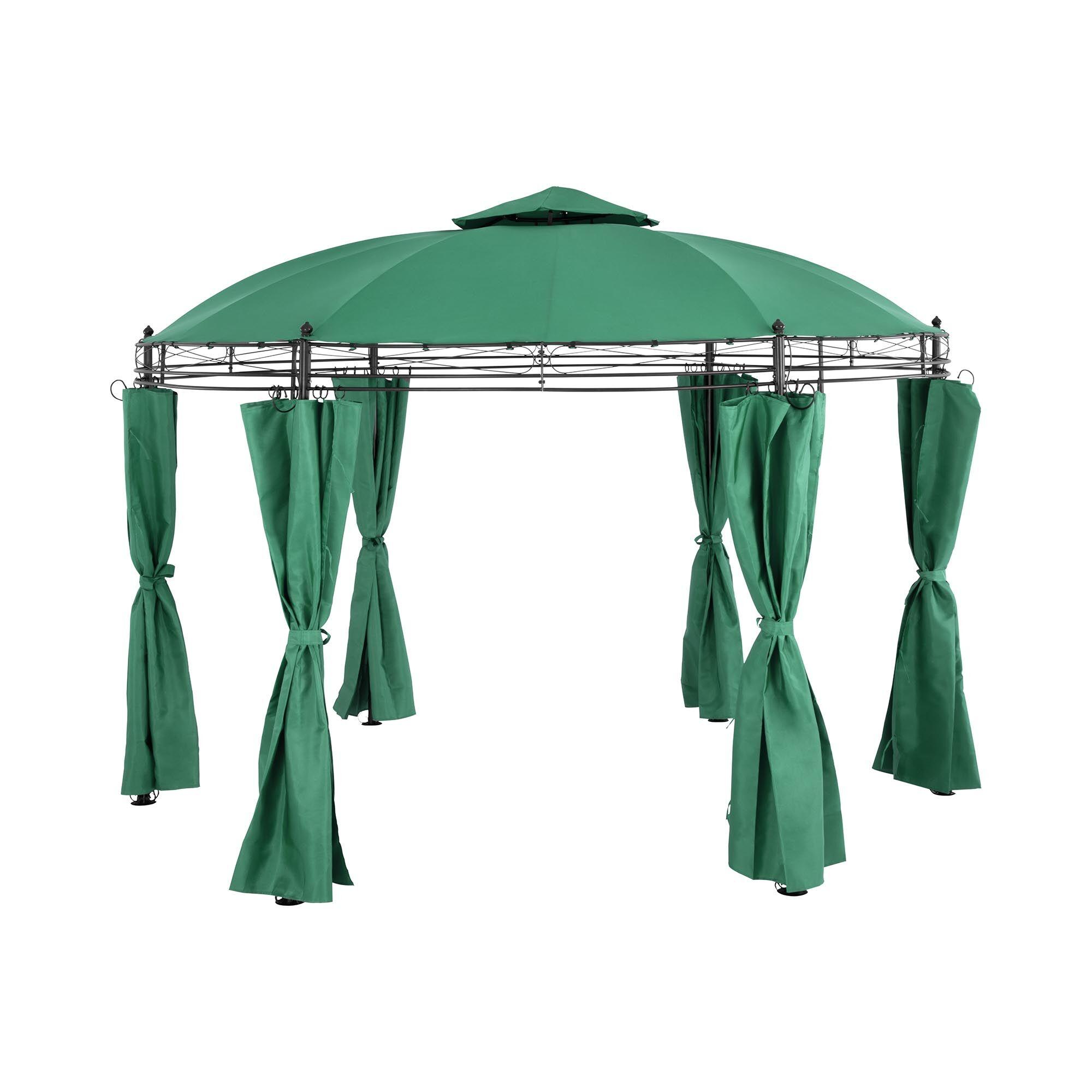 Uniprodo Rund gazebo - Ø 3.5 m - 180 g/m² - mørkegrønn