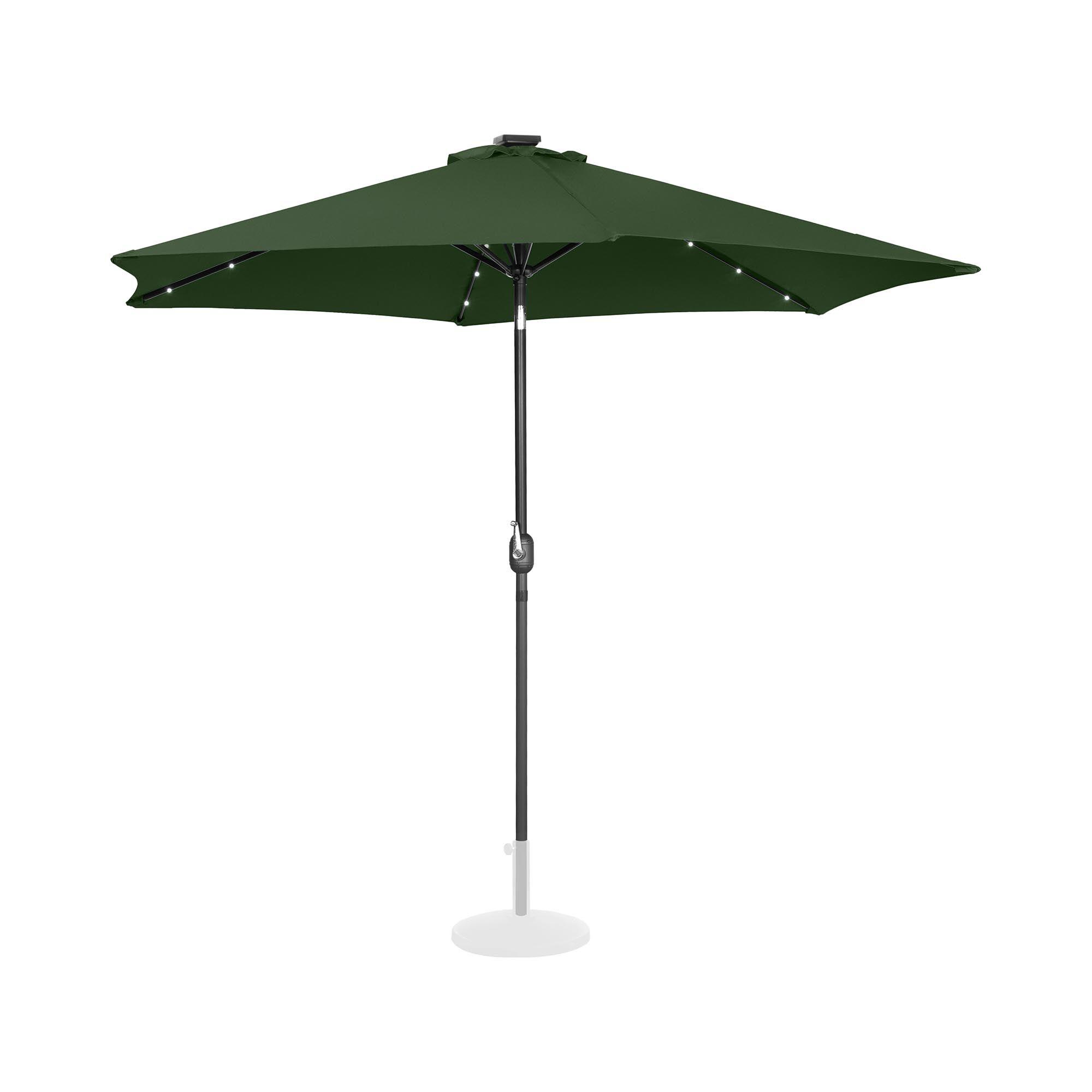 Uniprodo Parasoll med LED - grønn - rund - Ø 300 cm - kan skråstilles