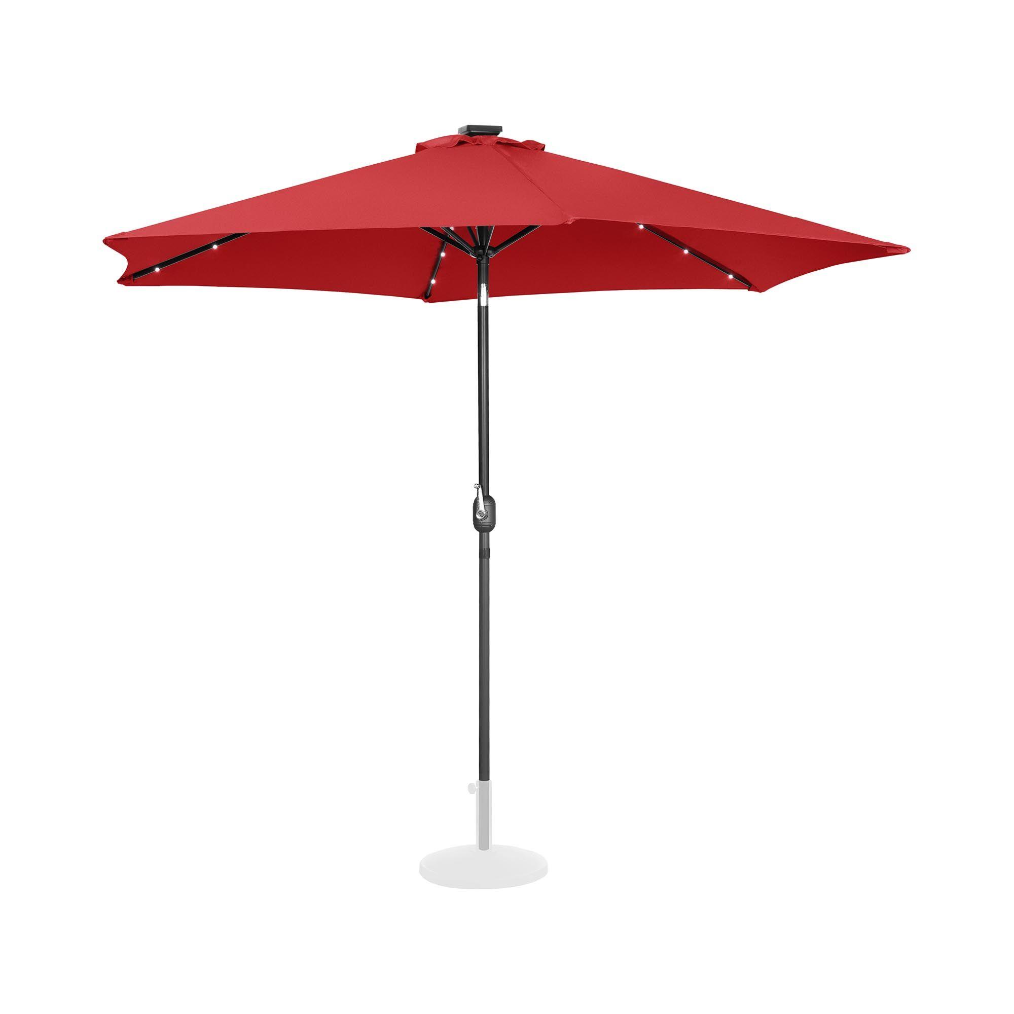 Uniprodo Parasoll med LED - rød- rund - Ø 300 cm - kan skråstilles