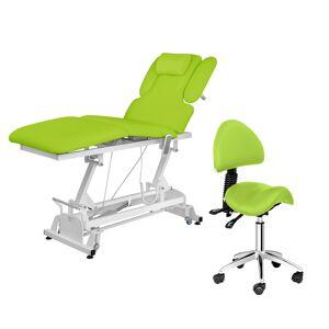 physa Elektrisk massasjebenk og NANTES sadelstol - 3 motorer - fotpedal - lys grønn 18000395
