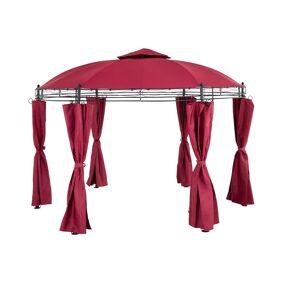 Uniprodo Hagepaviljong - rund - 3,5 m - 180 g/m² - vinrød 10250050