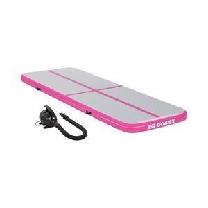 Gymrex Sett: Oppblåsbar treningsmatte med elektrisk pumpe - Airtrack - 300 x 100 x 10 cm - 150 kg - rosa/grå 18000411