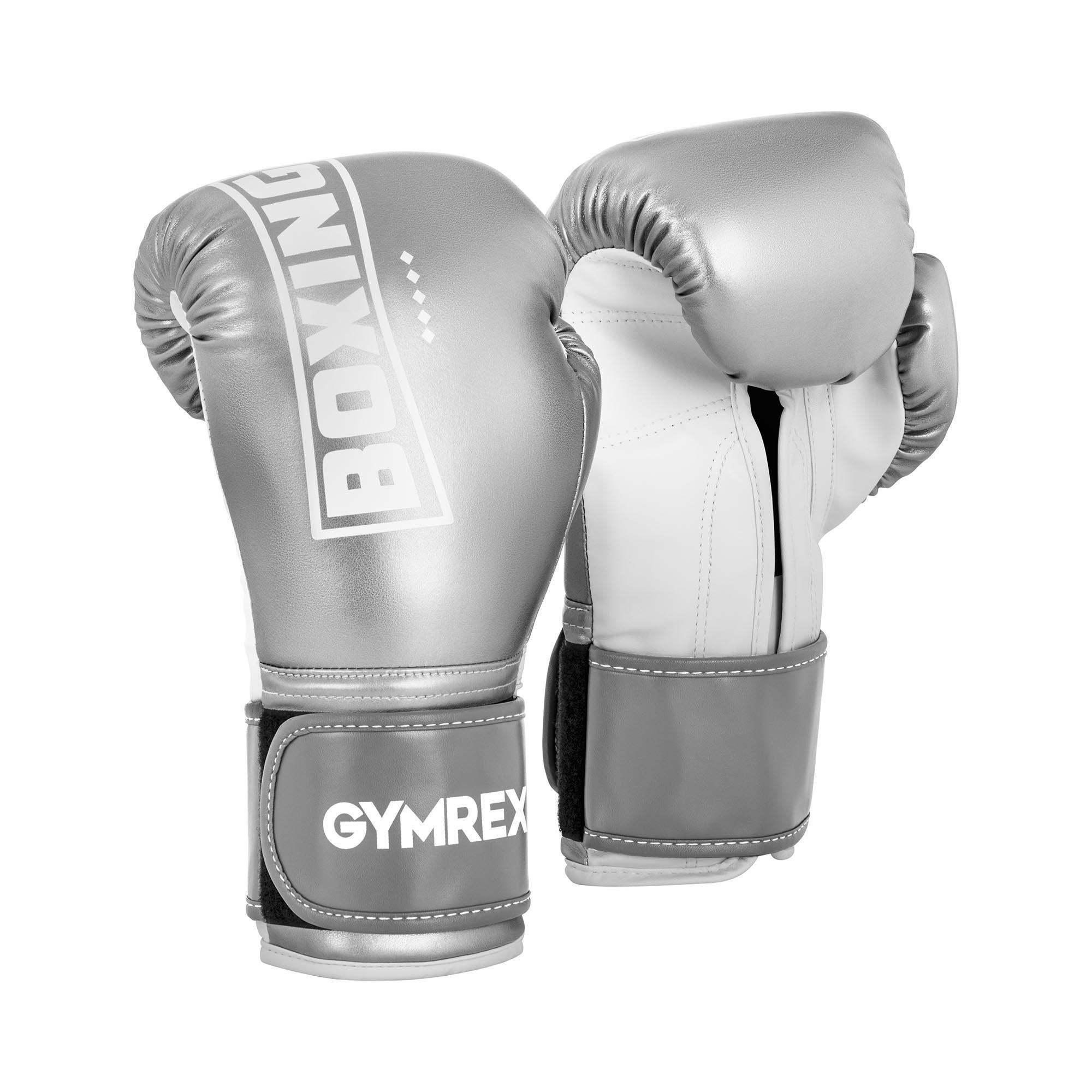 Gymrex Boksehansker - 12 oz - metallisk sølv og hvit