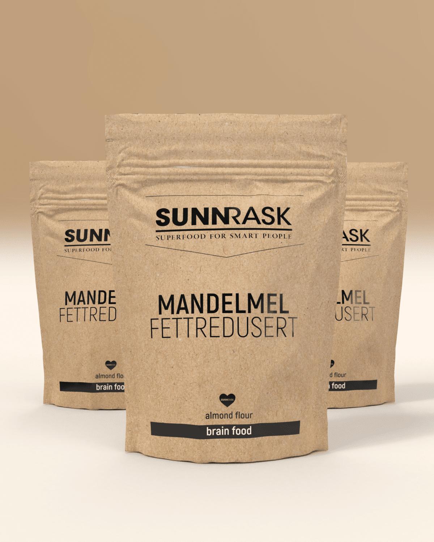 SunnRask 3 x SunnRask – Mandelmel Fettredusert 500g