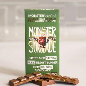 Monster Supersnacks Monster Sukkerfri Belgisk Stevia Melkesjokolade - Hasselnøtt & Salt 85g
