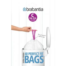 Brabantia Søppelposer C, 10-12 Ltr (Dispenser Pack med 40 poser) White