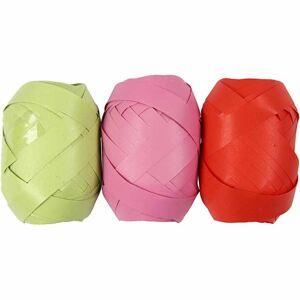 Vivi Gade Gavebånd, lime,pink,rød, B: 10 mm, 10 m, 3 rl.