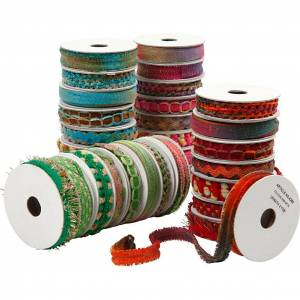 Creativ Company Dekorasjonsbånd , blå, grønn, pink, rød, B: 8-12 mm, 1.80 m, 64 rl.