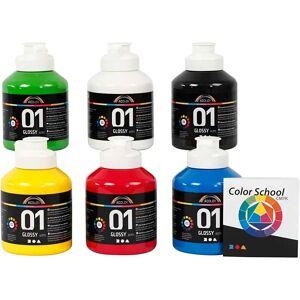 A-Color akrylmaling, primær farger, 01, blank, 500 ml, 6 fl.