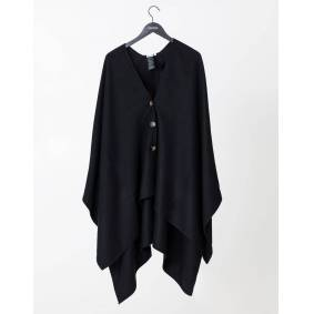 Indiska Solid button down poncho   Black