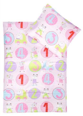 Essenza Baby sengetøy - Animal 123 - Pink - 70x100 cm