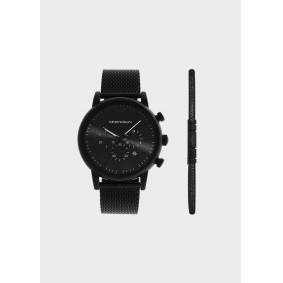 Giorgio Armani OFFICIAL STORE Chronograph Black Stainless Steel Mesh Watch  OneSize