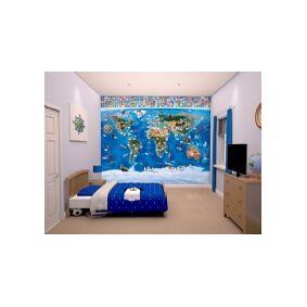 Walltastic Verdenskort tapet 243 x 305 cm