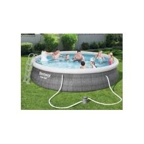 Bestway Fast Set Pool Rattan Sæt 457 x 107 cm m/pumpe og stige