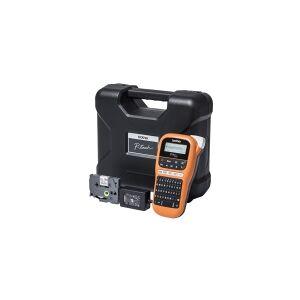 Brother P-Touch PT-E110VP - Etikettmaker - S/H - termotransfer - Rull (1,2 cm) - 180 dpi - inntil 20 mm/sek - 2-linjers utskrift - svart, oransje