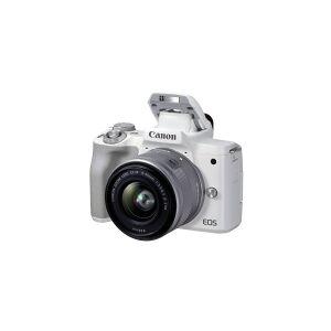Canon EOS M50 Mark II - Digitalkamera - speilløst - 24.1 MP - APS-C - 4K / 24 fps - 3optisk x-zoom EF-M 15 - 45 mm IS STM-linse - Wi-Fi, Bluetooth - hvit